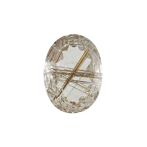 갈색 침수정 (Faceted Copper Rutilated Quartz/Oval)