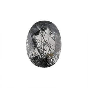 흑색 침수정 (Faceted Black Tourmalinated Quartz/Oval)