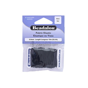 Beadalon Fabric Elastic 직물 코드 (10M/Black)