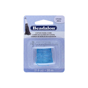 Beadalon Cotton Tassel Cord 태슬용 면실 (Metallic Silver on Blue)
