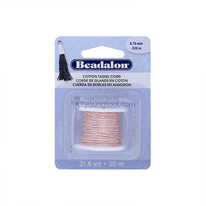 Beadalon Cotton Tassel Cord 태슬용 면실 (Metallic Silver on Pink)